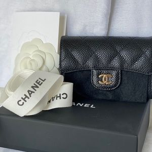 ✨🦄CHANEL✨Flap Card Holder Wallet black caviar🦄